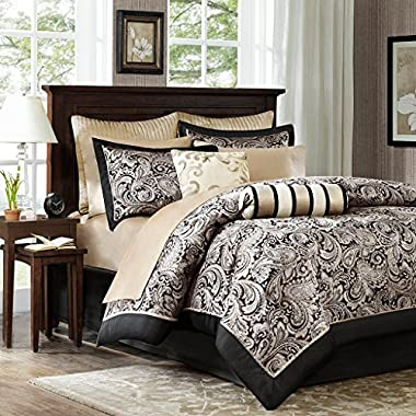 Madison Park Aubrey Queen Size Bed Comforter Set Bed In A Bag - Black, Champagne, Paisley Jacquard – 12 Pieces Bedding Sets – Ultra Soft Microfiber Bedroom Comforters
