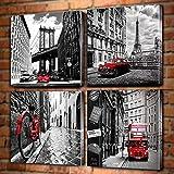 MhY Lienzo Arte de la Pared Blanco y Negro Ciudad París Londres Edificios Calle Autobús Rojo Coches clásicos Cuadro Amarillo Decoración del hogar Sin Marco a_40x40cmx4