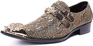 DEAR-JY Chaussures en Cuir Pointues pour Hommes,Souliers pour Hommes de la personnalité de la Totem doré en métal,Chaussur...