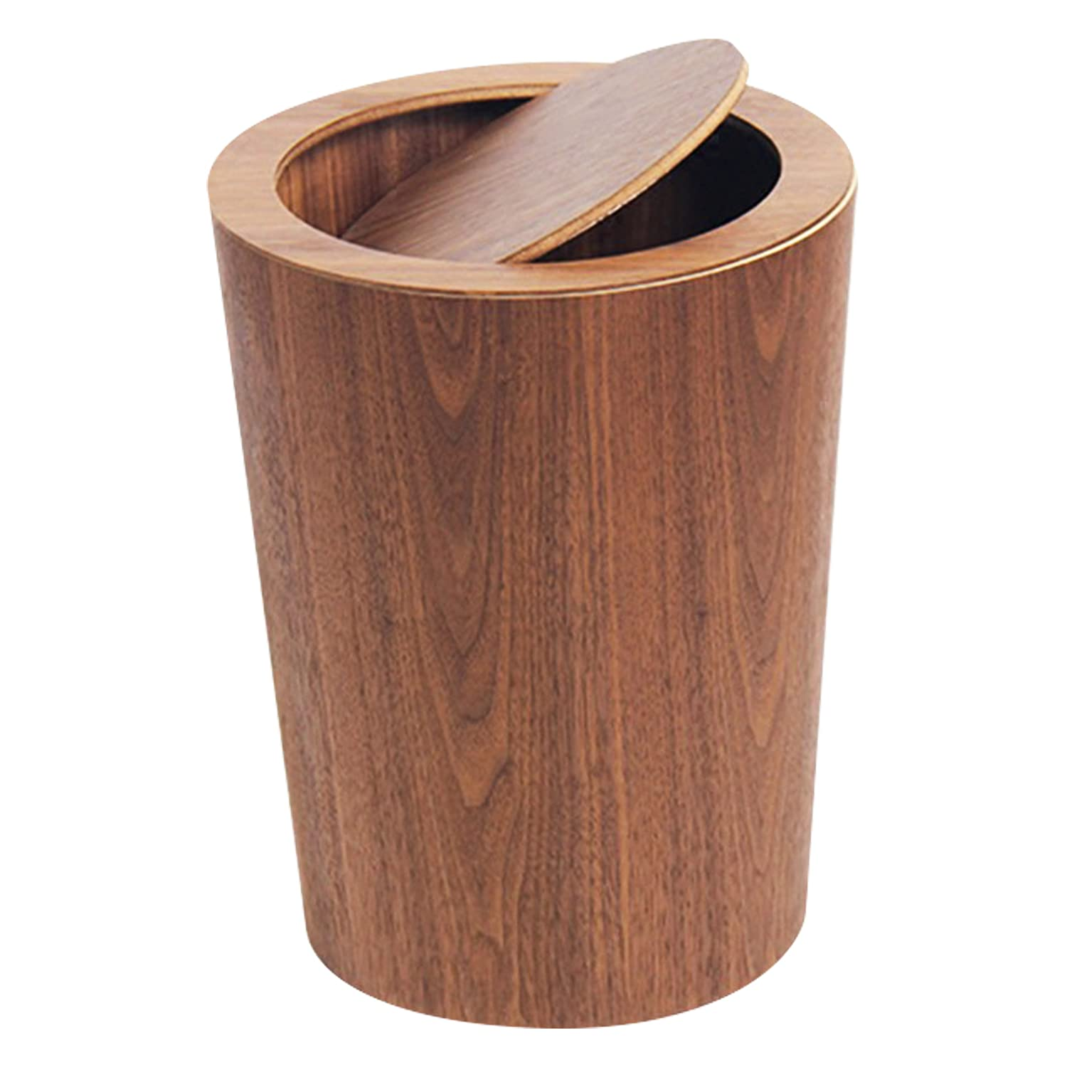 Modern SALENEW very popular Round Trash Can with Lid - Real Waste Manufacturer regenerated product i Wood Solid Basket