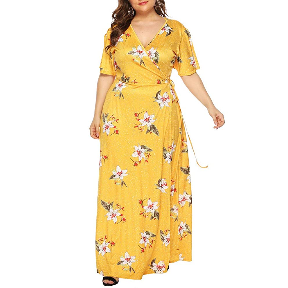 Aniywn Plus Size Maxi Dress, Women Summer V Neck Casual Short Sleeve Floral Printed Ankle Length Dress Party Dress
