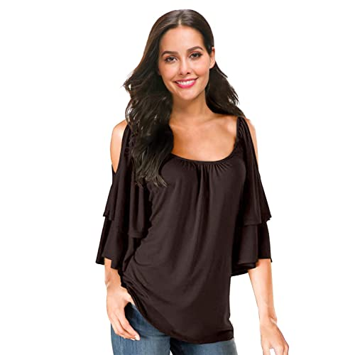 2f1e7ed66bcb2e Ellies Women s Summer Cold Shoulder Ruffle Sleeve Loose Stretch Tops Tunic Blouse  Shirt (L