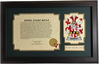 Murphy of Muskerry - Coat of Arms and Last Name History, 14x22 Inches Matted and Framed