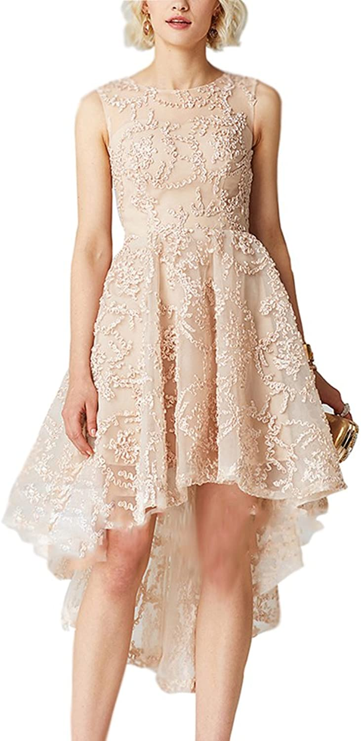 Newdeve Lace Embroidery 2 Layers Round Neckline Sleeveless Wedding Party Trailing Dress