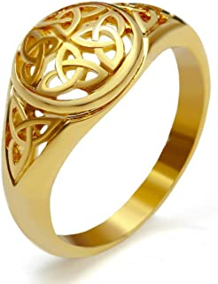 Gungneer Celtic Knot Triquetra Stainless Steel Ring Jewelry Accessories for Men Women