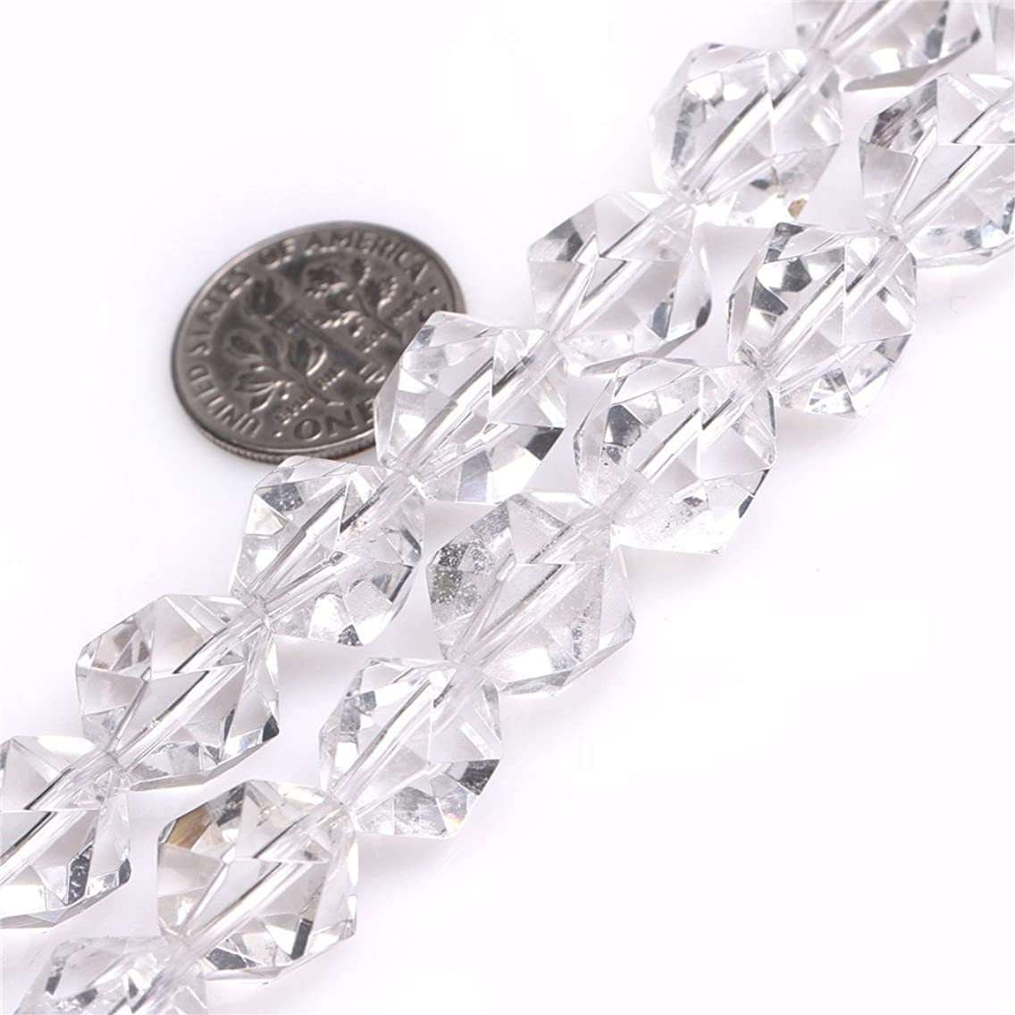 White Clear Quartz Crystal Beads for Jewelry Making Natural Gemstone Semi Precious 12mm Faceted 15