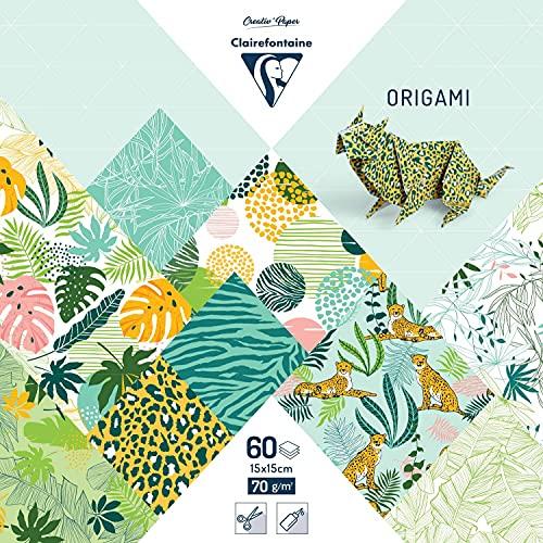 Clairefontaine 95353C - Lote de 60 hojas de papel origami (70 g/m2, 15 x 15 cm, 30 diseños surtidos (2 hojas por diseño), para adultos y niños, colección fresca exótica