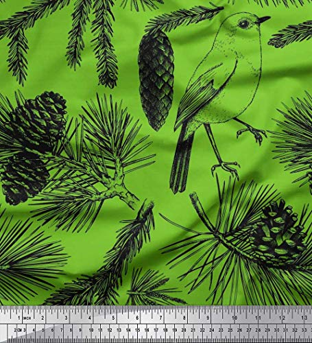 Soimoi Vert Mousse Georgette en Tissu Pomme de pin, épinette et Oiseau Feuilles Tissus imprimes par Metre 42 Pouce Large