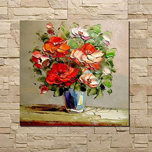 Gbwzz canvas messen olieverfschilderij realistische bloem in vaas afbeelding handgemaakt goedkoop handwerk dropship schilderij 80cmx150cm