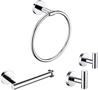 KLXHOME 4-Pieces Bathroom Hardware Set Wall Mounted Polished Stainless Steel - Includes Towel Ring, Toilet Paper Holder, 2...