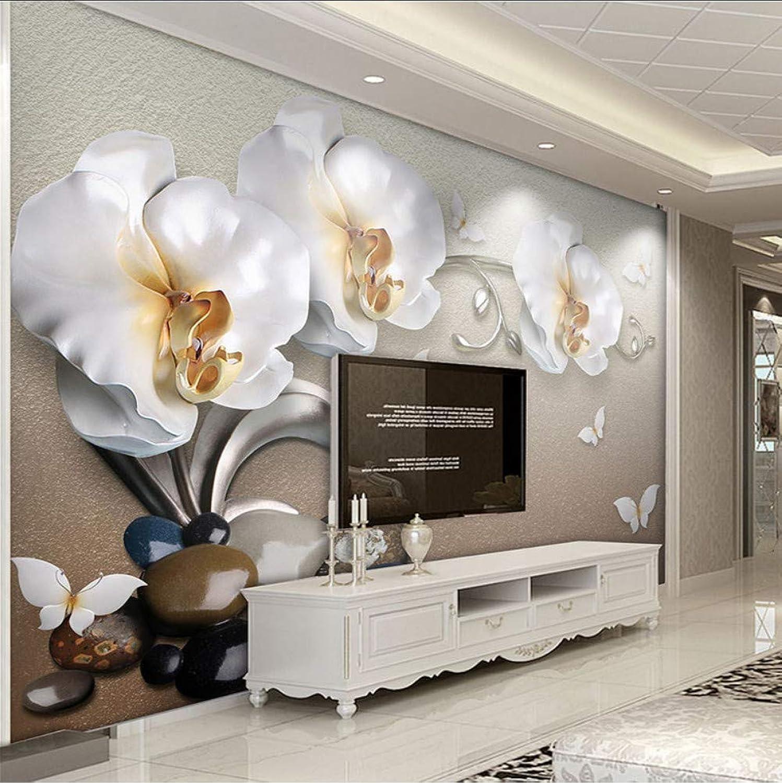 todos los bienes son especiales Mural Alta Alta Alta Calidad Estéreo 3D Joyería De oro Orquídea De Mariposa Lujo Wallpaper Hotel Sala De Estar Tv Telón De Fondo Decoración De Parojo Flor Mural 3D-200X140CM  a precios asequibles