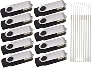 Thumb Drive 16GB 10 Pack USB 2.0 Flash Drives Kepmem Fashion Silver Swivel USB Memory Stick Bulk Gifts with 10pcs Lanyard
