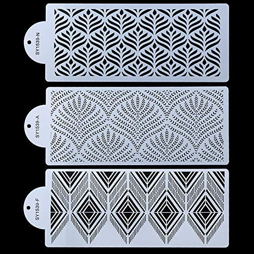 RAYNAG 3 Pcs Cake Decorating Stencils Mold Plastic Templates Spray Floral Cake Molds Cookie Fondant Dessert Decorating Molds Side Baking Mesh Stencil
