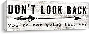 Pigort Inspirational Wall Art - Don't Look Back - Quote & Saying Art Painting, Motto Print Canvas Picture,Motivational Wall Art for Office or Living Room Home Decor (White)