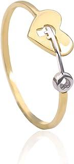 Tala Anello in Oro - 14K - Anello con Cuore in Oro Giallo e Bianco. Peso gr 1.0