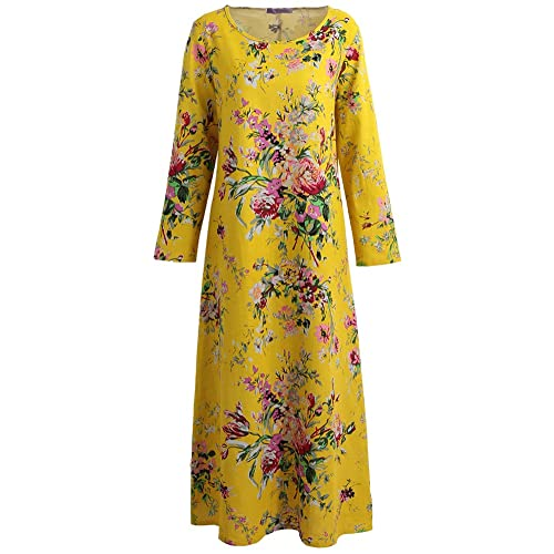 3ba00a9d61f Romacci Women Autumn Maxi Dress Floral Printed Cotton Linen Long Sleeves O  Neck Long Dress Plus