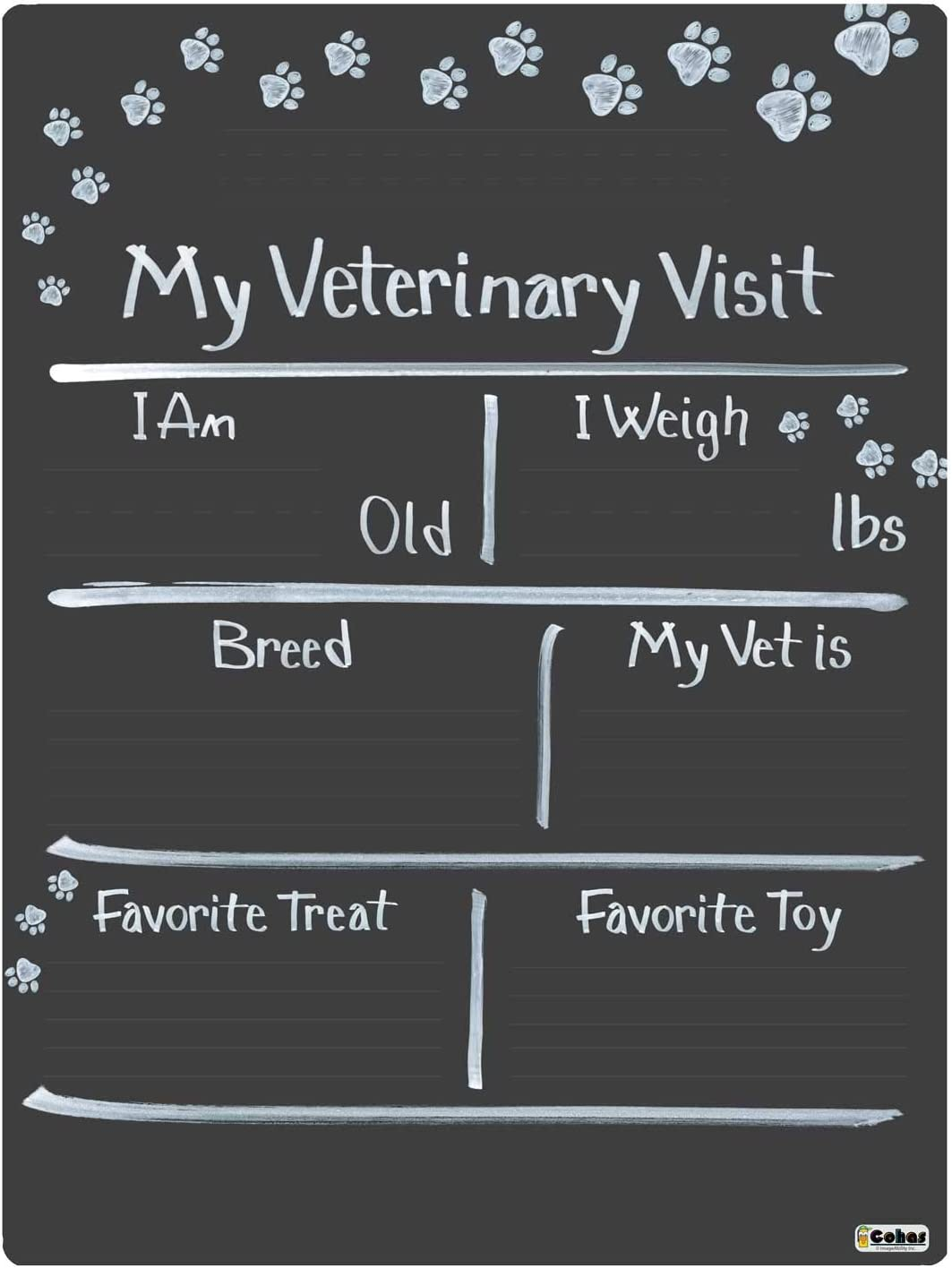 Cohas Vet Visit Super special price Max 69% OFF Milestone Board for with Custom Paw Prints Pets