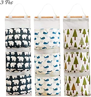AUHOKY 3Pcs Wall Closet Hanging Storage Bag, Premium Linen Fabric Over The Door Organizer, Hanging Storage Pouches with 3 Pockets for Bedroom Bathroom - Waterproof & Stylish (Bear/Tree/Whale)