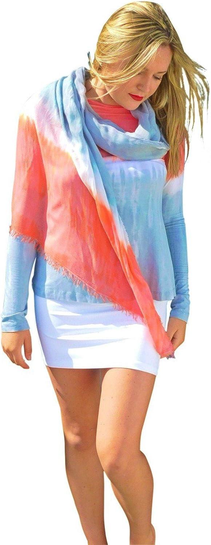 Annie Turbin Silk Modal Wrap Coral Grey Stripe