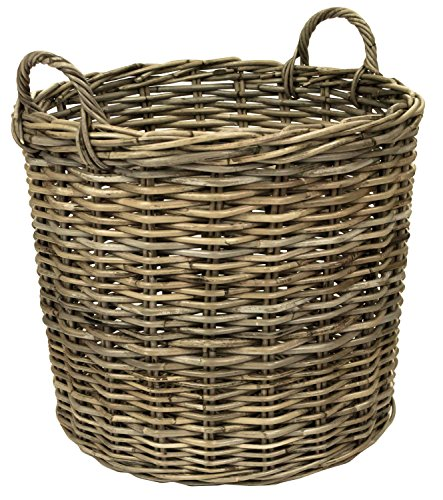 east2eden e2e Grey Kubu Rattan Wicker Strong Round Storage Display Kindling Log Basket (Extra Small)