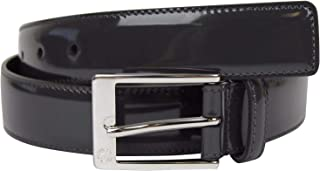 Men's Square Dark Gray Patent Leather Belt With GG Detail Buckle 345658 1107