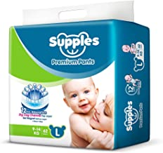 Supples Baby Pants Diapers, Large (9-14 kg), 62 Count
