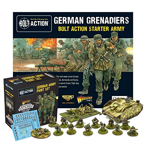 Bolt Action - Warlord Games and The Army Painter - German Grenadiers Starter Army and German Army Paint Set Military Action Figures - WW2 Model Miniatures and World War II Games by Wargames Delivered