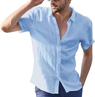 Overhemd met revers en korte mouwen voor heren Pure kleur Eenvoudig Dagelijks Vrije tijd Basic Outdoor Vakantie Trend Over...