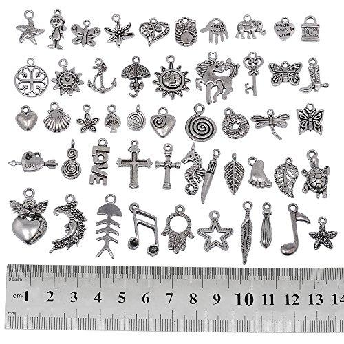 RUBYCA 200 piezas a granel mezclado de plata para hacer joyas pulsera pequeños colgantes para collar de color plata envejecida – igual que la imagen (mix2)