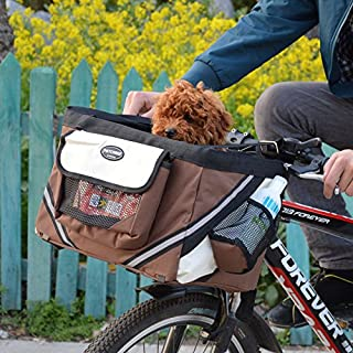 Hillwest Pet Bike Basket Bag Bicycle Front Carrier Pet Dog Bicycle Carrier Bag Basket Puppy Dog Cat Travel Bike Carrier Seat Bag for Small Dog Products Travel Accessories Brown