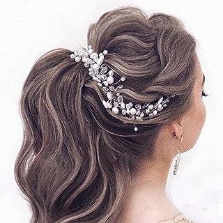 Handcess - Cerchietto per capelli da sposa con perle di cristallo, in argento, accessorio per capelli da sposa e damigelle...