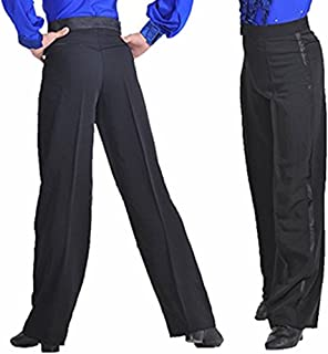 YOUMU Men Latin Salsa Dance Pants Smooth Competition Ballroom Practice Trousers Modern Rumba Tango Dancewear