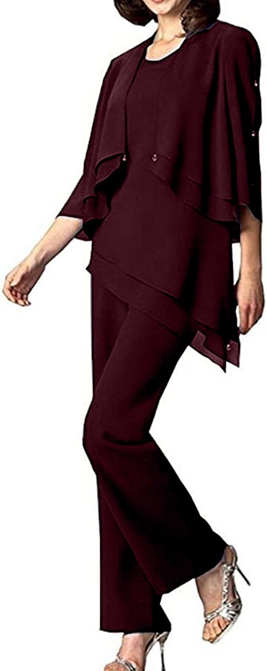 The Peachess Women's Chiffon Mother of The Bride Pant Suits for Women 3 Pieces Set Dress Plus Size Prom Formal Gown