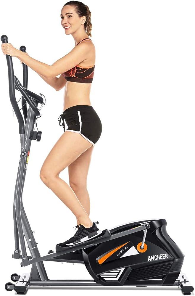 Ancheer, macchina, cyclette ellittica, con 10 livelli di resistenza, display lcd/porta tablet, grigio