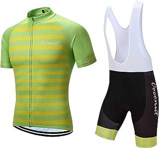 Men's Short Sleeves Cycling Jersey Set Bike Jersey Suit Cycling Shirt Bib Shorts with 3D Gel Padded