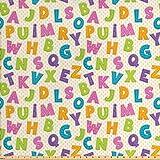 Ambesonne ABC-Stoff von The Yard, lustige Buchstaben in