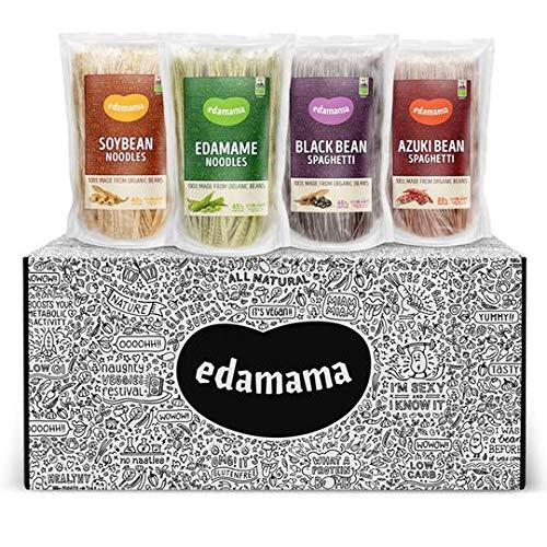 Edamama - Low-Carb High-Protein Pasta aus 100% Bio-Bohnen - Edamama Probier-Set - Bio, Vegan, Glutenfrei, bis zu 43% Protein (4 Sorten - 8 x 200g) …