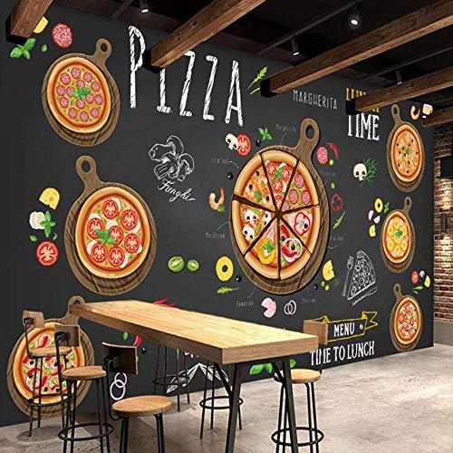 3D-behang van zijdevlies, personaliseerbaar, wanddecoratie, pizzasteen met de hand beschilderd, pizza fotobehang café dessert shop western restaurant wandschilderij 250*175