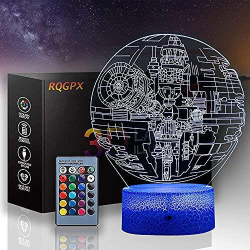JYDNBGLS 3D noche luz para niños de la muerte estrella 3D noche luz lámpara con control remoto 16 color cambiante cumpleaños para niño