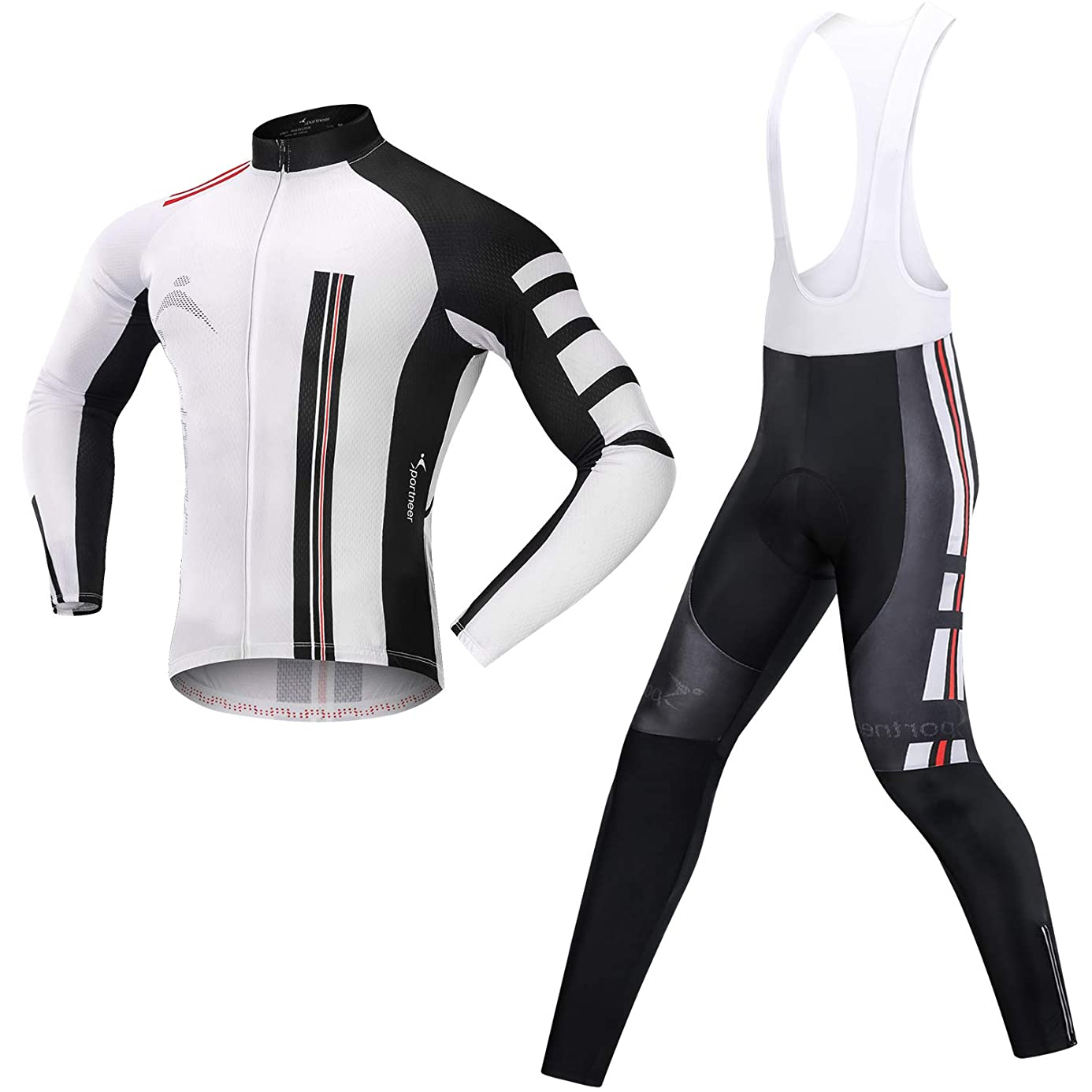Men's Cycling Jersey Bicycle Bib Pants Set, 4D Padded Cycling Leggings with Long Sleeve Shirt Tights for Outdoor Cyclist Riding Bike Wear