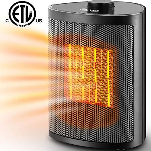 Bojing Ceramic Portable Space Heater with Adjustable Heating Level-Perfect For Home and Office, 750W/1500W, Black