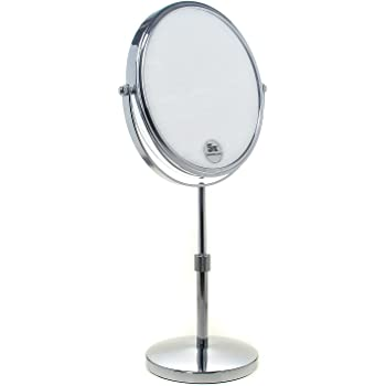 Specchio Bagno per Trucco e Rasatura KXD3106-5x HIMRY Doppia Faccia Specchi da Trucco Cromato 14,7 cm 6 Pollici Specchio da Tavolo Ingranditori 5X con Piedistallo