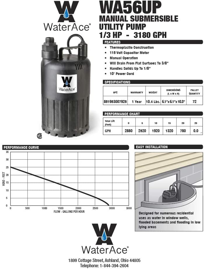 Black WaterAce WA56UP Submersible Utility Pump 1//3 HP