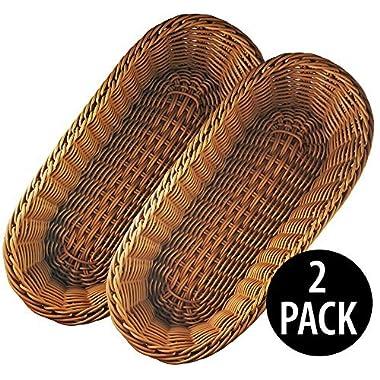 KOVOT Poly-Wicker Bread Basket Set of 2 - 14.5  Woven Polypropylene