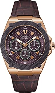 GUESS Mens Quartz Watch, Analog Display and Leather Strap W1058G2