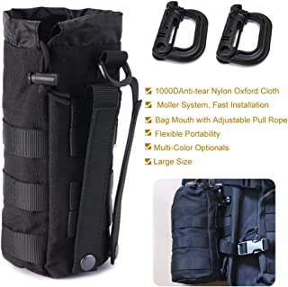 R.SASR Upgraded Sports Water Bottles Pouch Bag, Tactical Drawstring Molle Water Bottle Holder Tactical Pouches, Travel Mesh Water Bottle Bag Tactical Hydration Carrier