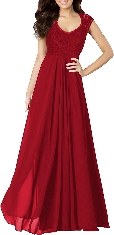 Muke Women's Casual Deep V Neck Sleeveless Vintage Maxi Elegant Dress (XL, MK163Red)
