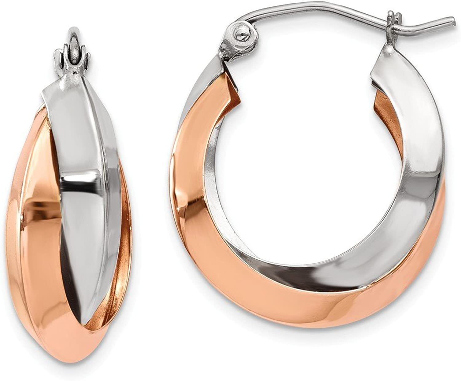 Beautiful White and yellow gold 14K Whiteandyellowgold 14k pink and White gold Polished Oval Hoop Earrings