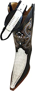 Mens Western Cowboy Leather Black/White Crocodile Print Boots/Free Belt_Black/White_11