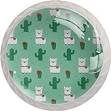 Leuke Alpaca Cactus Patroon Set van 4 Lade Knoppen Trekt Kast Handvat voor Thuis Keuken Garderobe Kast Home Decor Hardware...